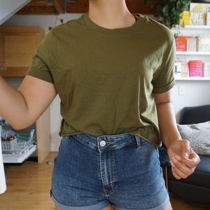 Tops - Green Boxy Cut Cropped T-shirt